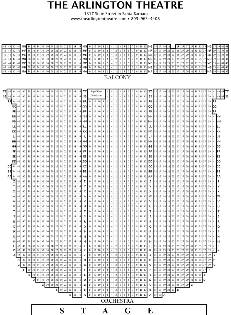 The Arlington Theatre seating chart