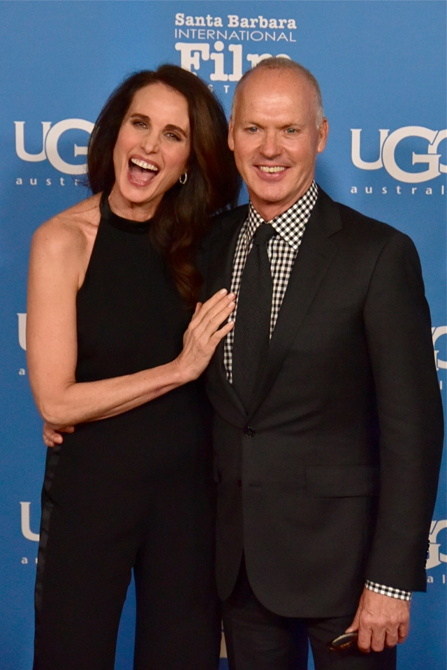 Andie MacDowell and Michael Keaton arrive for the Modern Master Award