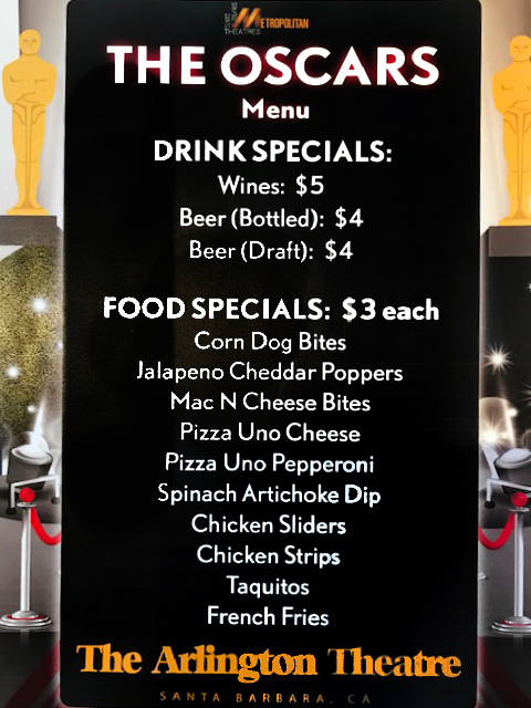Food and drink menu for Oscar Night